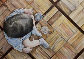 Desenho de criança a lápis de cor sobre papel canson A3, 2017