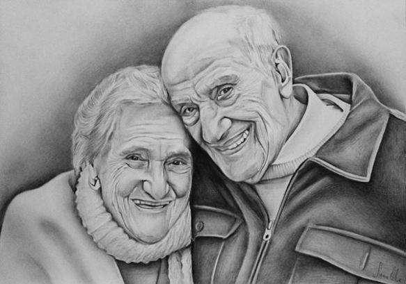 Retrato de casal a grafite, papel canson A4 200gr, 2016