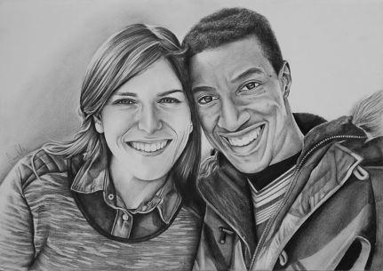 Retrato de casal, grafite sobre A3, 2016