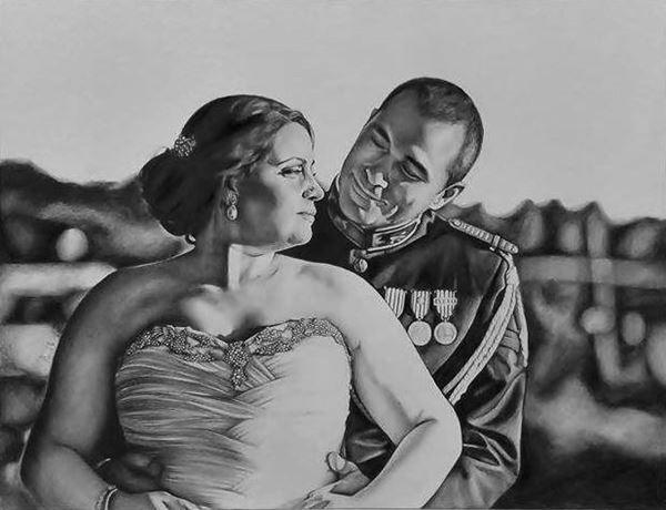 Retrato de casamento (com fundo e meio corpo), a grafite sobre papel A2 de 200gr, 2015