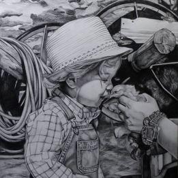 Retrato de criança (com fundo e meio corpo) a grafite sobre papel A2 de 200gr, 2015